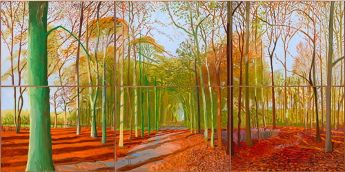 David Hockney. <em>Woldgate Woods, 21, 23 & 29 November 2006, </em>2006. Oil on six canvases, 182 x 366 cm. Courtesy of the Artist. Copyright David Hockney. Photograph: Richard Schmidt.