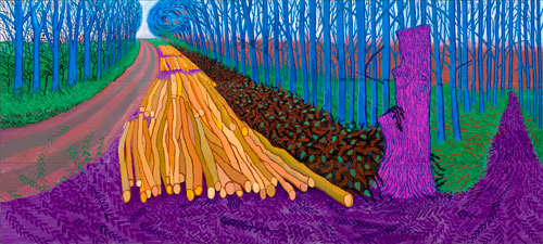 David Hockney. <em>Winter Timber</em>, 2009. Oil on 15 canvases, 274 x 609.6 cm. Private Collection. Copyright David Hockney. Photograph: Jonathan Wilkinson.