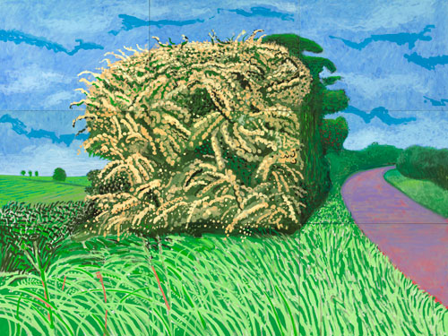 David Hockney. <em>The Big Hawthorne</em>, 2008. Oil on nine canvases, 275.5 x 366 cm. Courtesy of the Artist. Copyright David Hockney. Photograph: Richard Schmidt.