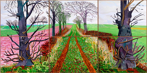 David Hockney. <em>A Closer Winter Tunnel, February - March, 2006</em>. Oil on six canvases, 182 x 365 cm. Collection Art Gallery of New South Wales. Purchased with funds provided by Geoff and Vicki Ainsworth, the Florence and William Crosby Bequest and the Art Gallery of New South Wales Foundation 2007. Copyright David Hockney/Collection of Art Gallery of New South Wales, Sydney. Photograph: Richard Schmidt.