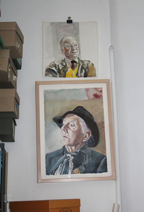 David Remfry. Sketches of John Gielgud and Quentin Crisp on his studio wall, November 2011. © David Remfry.