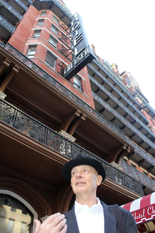 David Remfry outside the Chelsea Hotel, November 2011. Photograph: Miguel Benavides. © Studio International.