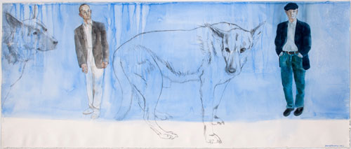 David Remfry. The blue of the past, 2007. Watercolour and graphite on paper, 81 x 193 cm. © David Remfry.