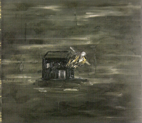 David Lynch. <em>Here I am - Me as a house</em>, 1990.  Oil ink and mixed media, 107cm x 122 cm. ).