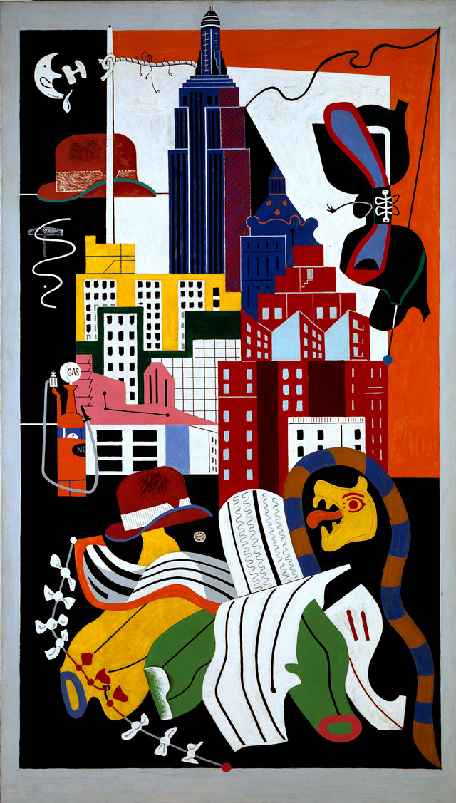 Stuart Davis. New York Mural, 1932. Oil on canvas, 84 x 48 in (213.4 x 122 cm). Norton Museum of Art, West Palm Beach, Florida; purchase, R. H. Norton Trust. © Estate of Stuart Davis / Licensed by VAGA, New York, NY.