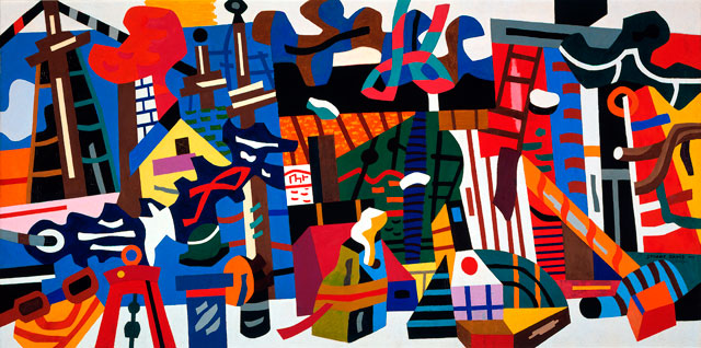 Stuart Davis. Swing Landscape, 1938. Oil on canvas, 86 3/4 x 173 1/8 in (220.3 x 400 cm). Indiana University Art Museum; allocated by the US Government, commissioned through the New Deal Art Projects. © Estate of Stuart Davis/Licensed by VAGA, New York.