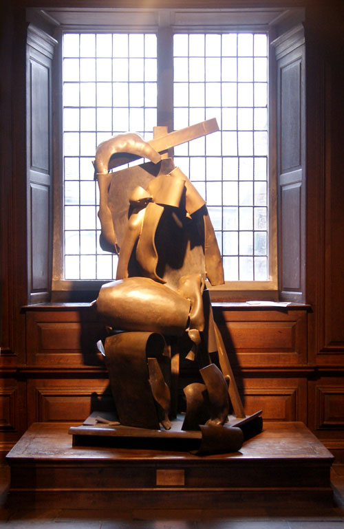 Sir Anthony Caro. <em>Deposition</em>, 2001. In situ at Christ's College ante-chapel. Bronze and brass.