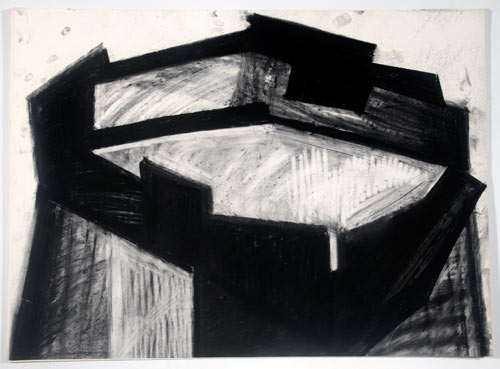 Phyllida Barlow. <em>Untitled</em>, 1980s. Charcoal and collage on paper. Leeds Museums and Galleries (Art Gallery).