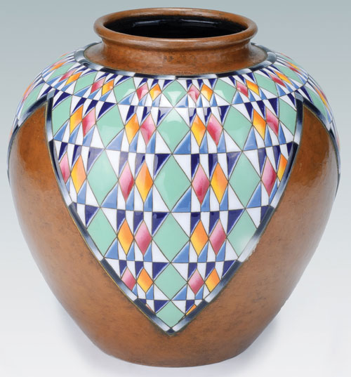 Ando Jubei (1876–1953). <em>Cloisonné Vase with Diamond Patterns</em>, 1930s. Enamel on metal, 11 × 10 in. This exhibition is organised and circulated by Art Services International, Alexandria, Virginia.