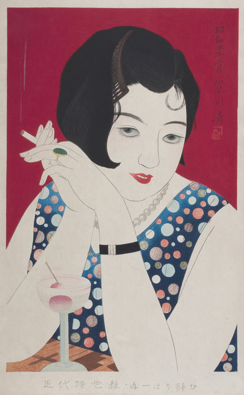 Kobayakawa Kiyoshi (1899-1948). <em>Tipsy (Horoyoi), first print from the series Styles of Contemporary Make-up (Kindai jiseisô no uchi)</em>, 1930. Ink and pigment on paper, 20½ x 12 in. This exhibition is organised and circulated by Art Services International, Alexandria, Virginia.
