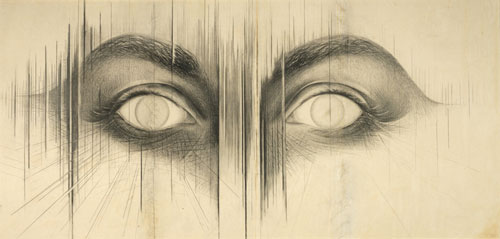 Jay DeFeo. The Eyes, 1958. Graphite on paper, 42 x 84 3/4 in. (106.7 x 215.3 cm). Whitney Museum of American Art, New York; gift of the Lannan Foundation 96.242.3. © 2012 The Jay DeFeo Trust/Artists Rights Society (ARS), New York. Photograph: Geoffrey Clements.