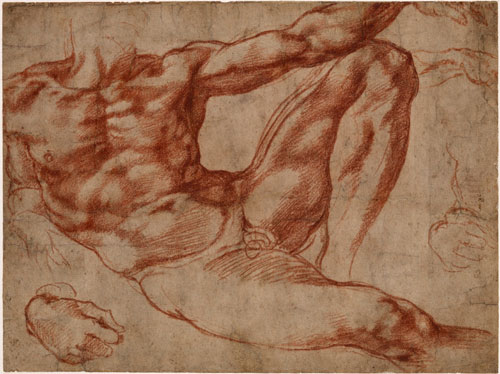 Studies of a reclining male nude: Adam in the fresco The Creation of Man on the vault of the Sistine Chapel, c1511. Dark red chalk over some stylus underdrawing (left calf and elsewhere). Michelangelo. © The Trustees of the British Museum.