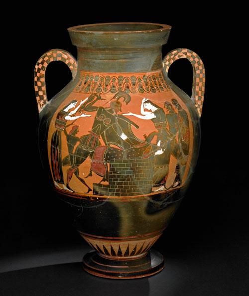 Pottery: black-figured amphora: the death of Priam. Greek, 550BC-540BC (circa). Vulci, Lazio, Italy. © The Trustees of the British Museum.