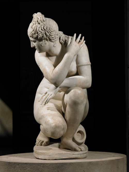 Marble statue of a naked Aphrodite crouching at her bath, also known as Lely's Venus. Roman copy of a Greek original, 2nd century AD. Height 120cm. Royal Collection Trust. © Her Majesty Queen Elizabeth II 2015.