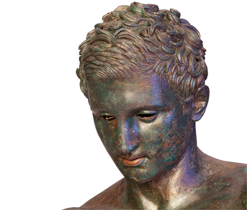 Detail of head of Apoxyomenos. Bronze, Hellenistic or Roman replica after a bronze original from the second quarter or the end of the 4th century BC. © Tourism Board of Mali Losinj.