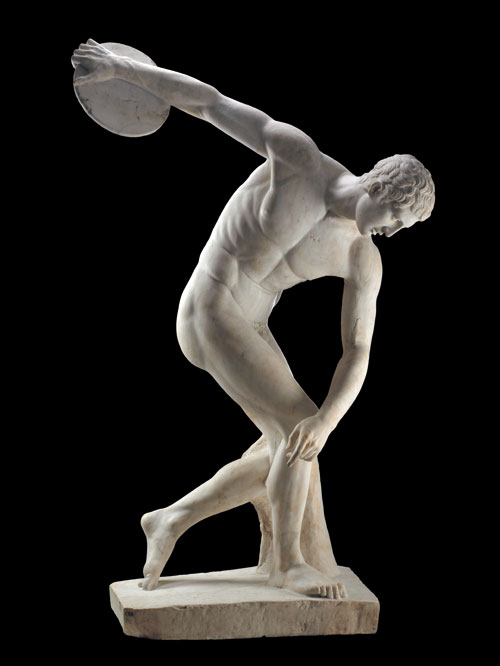 Marble statue of a discus-thrower (discobolus) by Myron. Roman copy of a bronze Greek original of the 5th century BC. Height 173cm x width 100cm. © The Trustees of the British Museum.