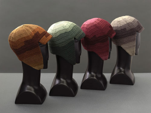 Driving caps designed by Sonia Delaunay,  1924-28. Silk and wool embroidery on cotton. Musée de la Mode de la Ville de Paris, Musée Galliera. © L & M Services B.V. The Hague 20100623.
