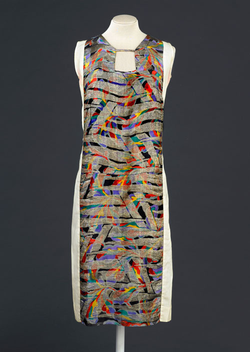 Dress designed by Sonia Delaunay, France 1925-28. Printed silk satin with metallic embroidery. Musée de la Mode de la Ville de Paris, Musée Galliera. © L & M Services B.V. The Hague 20100623.