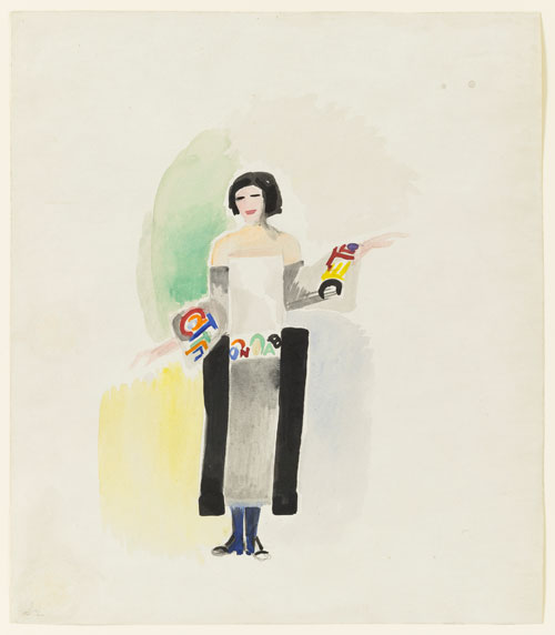 Sonia Delaunay. <em>Robe poéme no 1328</em>,  1923. Watercolour, gouache, and pencil on paper. Museum of Modern Art, New York.  © L & M Services B.V. The Hague 20100623. Photo ©The Museum of Modern Art/Licensed by SCALA/Art Resource, NY.