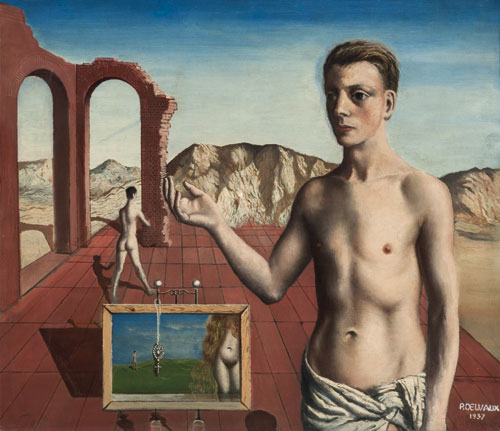 Paul Delvaux. Le récitant, 1937. Oil on canvas, 70 x 80 cm. © Paul Delvaux Foundation, Belgium. Courtesy of Blain|Di Donna and the Paul Delvaux Foundation, Belgium.