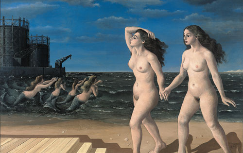 Paul Delvaux. Les femmes devant la mer, 1943. Oil on canvas, 105.5 x 166.5 cm. © Paul Delvaux Foundation, Belgium. Courtesy of Blain|Di Donna and the Paul Delvaux Foundation, Belgium.