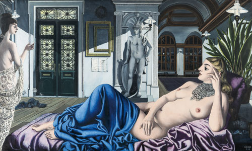 Paul Delvaux. L'éloge de la mélancolie, 1948. Oil on panel, 153 x 255 cm. © Paul Delvaux Foundation, Belgium. Courtesy of Blain|Di Donna and the Paul Delvaux Foundation, Belgium.