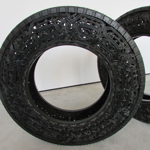 Wim Delvoye. Car Tyre, 2010. Handcarved car tyres, 71 x 14 cm. Gary Tatintsian Gallery.
