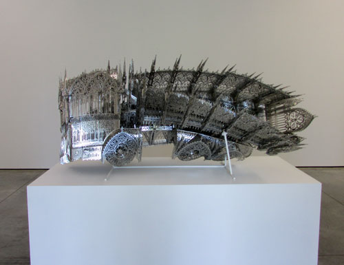 Wim Delvoye. Twisted Dump Truck CCW, 2012. Laser-cut stainless steel.