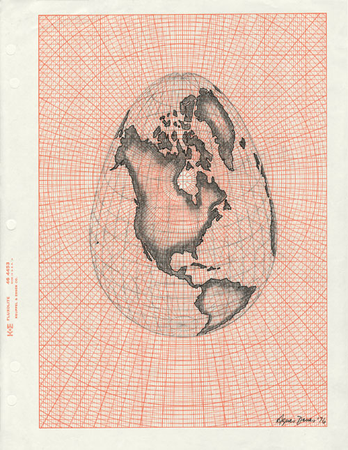 Agnes Denes. Isometric Systems in Isotropic Space – Map Projections: The Egg, 1974–76.