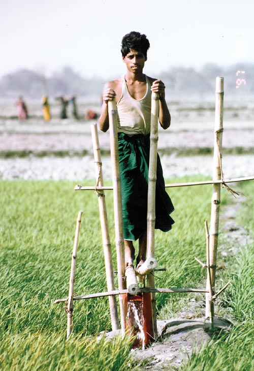 Bamboo treadle pump. Designer: Gunnar Barnes and International Development Enterprises Nepal. Manufacturer: numerous small- and medium-sized local workshops, Nepal and Bangladesh, 2006. Metal, plastic, bamboo. Dimensions: 5 ft x 2.5 ft x 7  ft. Photo © 2003 International Development Enterprises