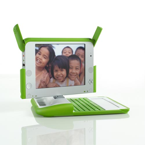 One laptop per child. Concept: Nicholas Negroponte, OLPC. Designer: Yves Behar, fuseproject. (with Martin Schnitzer and Bret Recor). Manufacturer: Quanta Computer, Inc, and OLPC, China, 2007. Composition: PC/ABS, rubber 1.3 inches x 9 inches x 9.5 inches