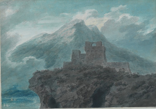 John Robert Cozens (1752-1797). A ruined fort near Salerno, c. 1782. Graphite, watercolour and opaque watercolour (with scratching out) on laid paper, 251 x 368 cm. The Courtauld Gallery.
