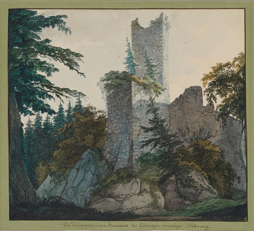 Carl Philipp Fohr (1795-1818). The Ruins of Hohenbaden, 1814-15. Watercolour on wove paper; ruled border in brown ink; partially laid down on the original green wove paper album folio, 195 x 221 mm. 	The Morgan Library & Museum.