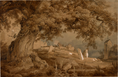 Karl Friedrich Lessing (1808-1880). Landscape with a cemetery and a church, 1837. Pen and brown ink and black inks, brush and brown ink, brown ink wash watercolour, opaque watercolour, and graphite with cut and adhered paper correction, on brown wove paper, 291 x 447 mm. The Morgan Library & Museum.