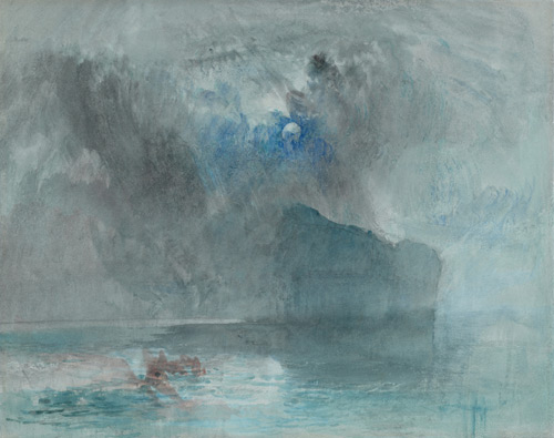 Joseph Mallord William Turner (1775-1851). On Lake Lucerne, looking towards Fluelen, 1841(?). Watercolour, with scraping out and marks made with the thumb, over graphite on wove paper, 223 x 283 mm. The Courtauld Gallery.