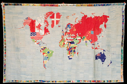 Alighiero Boetti. <i>Mappa</i>, 1971. Embroidered tapestry made in Afghanistan, 147 x 228 cm. Private collection, Photograph: Roman Maerz.