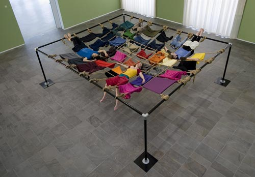 Trisha Brown, <em>Floor of the Forest</em>, 1970. Installation and performance in the exhibition space © Trisha Brown. Photo: Katrin Schilling/documenta GmbH.