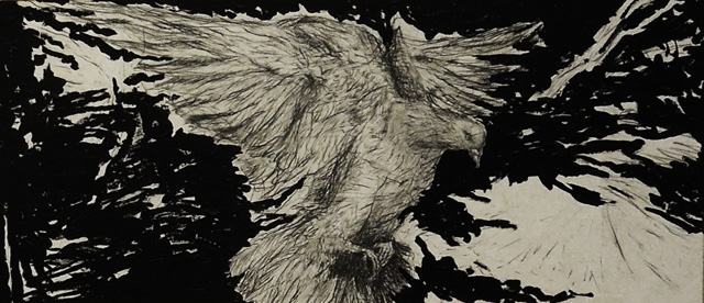 Asya Dodina and Slava Polishchuk, Bird, 2016. Mixed media on paper, 42 x 96 in.