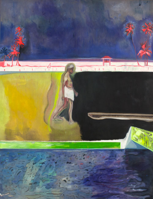 Peter Doig. Walking Figure by Pool, 2011. Oil on linen, 260 x 200 cm.