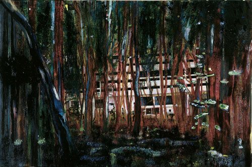 Peter Doig. <em>Cabin Essence,</em> 1993–94. Oil on canvas, 230 x 360 cm. Private collection