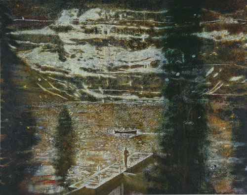 Peter Doig. <em>Jetty,</em> 1994. Oil on canvas, 200 x 248 cm. Collection of Mima and César Reyes, Puerto Rico