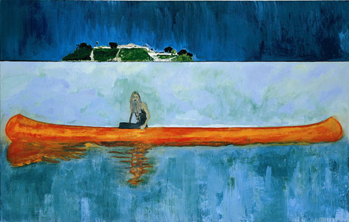 Peter Doig. <em>100 Years Ago,</em> 2001. Oil on canvas, 240 x 360 cm. Centre Pompidou, Paris. Musée national d'art moderne - Centre de création industrielle