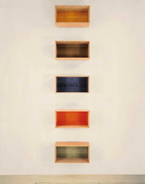 Donald Judd, <em>Untitled</em> 1993. Douglas Fir plywood with grey, yellow, brown, blue, orange and green transparent Plexiglas. 6 units, each 50 x 100 x 50cm with 50cm intervals. Collection Judd Foundation. ARTS© 2004 Judd Foundation/ Licensed by VAGA, New York/DACS, London