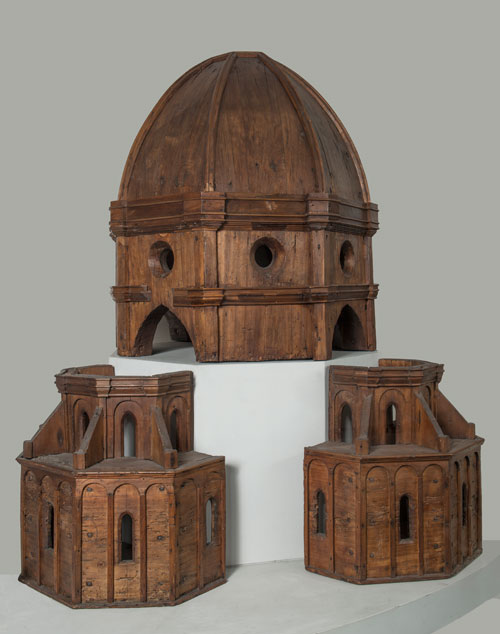 Attributed to Filippo Brunelleschi. Model for the Dome of Santa Maria del Fiore, c1420–52. Wood, dome: 100 × 70 cm (393⁄8 × 27½ in); apses: 55 × 63 × 35 cm (215⁄8 × 24¾ × 13¾ in) each. Opera di Santa Maria del Fiore. © Opera di Santa Maria del Fiore / Antonio Quattrone.