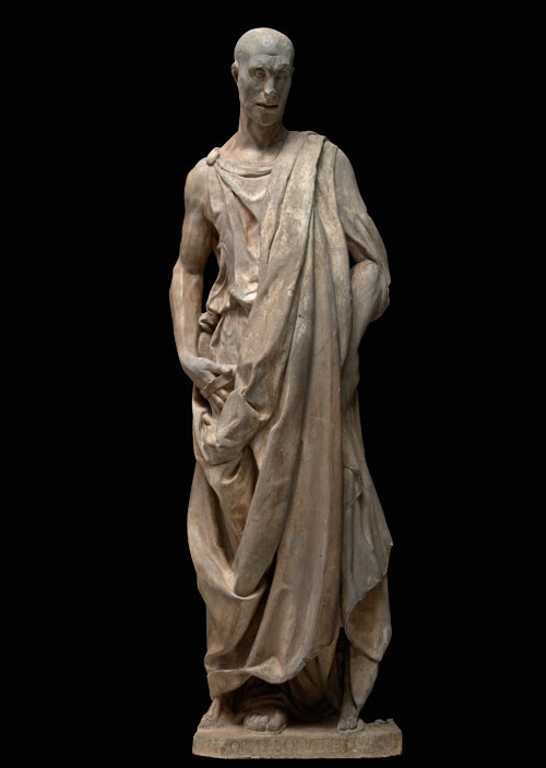 Donatello. Prophet (possibly Habbakuk), known as the Zuccone, 1435–36. Marble, 195 × 54 × 38 cm (763⁄4 × 211⁄4 × 15 in). Opera di Santa Maria del Fiore. © Opera di Santa Maria del Fiore / Antonio Quattrone.