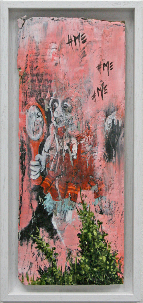 Miranda Donovan. Diary of My Other Self, Oct 23rd 2014. Acrylic and mixed media on cardboard, 39 x 18 cm (inc frame).