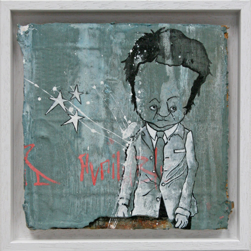 Miranda Donovan. Diary of My Other Self, Oct 6th & 7th, 2014. Acrylic and mixed media on cardboard, 24 x 24 cm (inc frame).