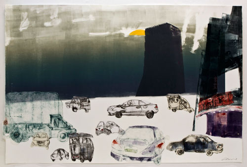 Kate Downie. Beijing Sunset, 2013. Mono print with drypoint collage on Arches paper, 101 x 150 cm. Copyright the artist. Photograph: Michael Wolchover.