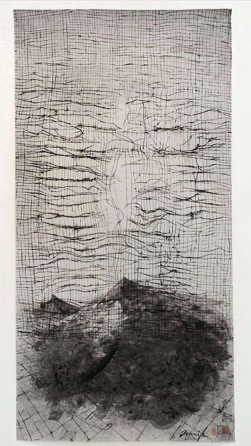 Kate Downie. Metal Fatigue, 2012-13. Ink on Xuan Paper, 240 x 120 cm. Copyright the artist. Photograph: Michael Wolchover.