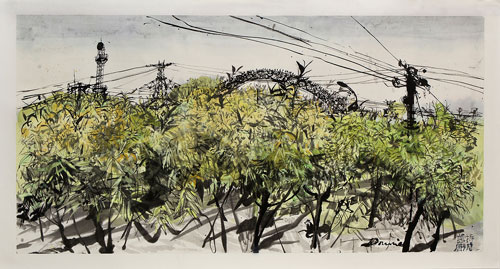Kate Downie. Feijiacun Walk I ( Student Teacher), 2013. Ink and Chinese watercolour on Xuan paper, 70 x 138 cm. Copyright the artist. Photograph: Michael Wolchover.